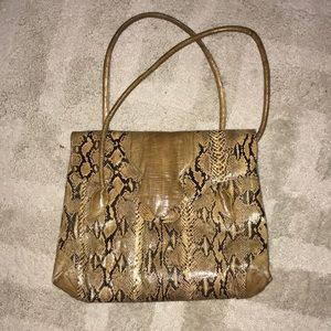 W A Thompson & Co real python bag w/ suede lining